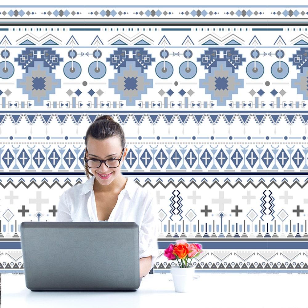 Ethnic Wallpaper Geometric Boho Wallpaper Office Decor Etsy
