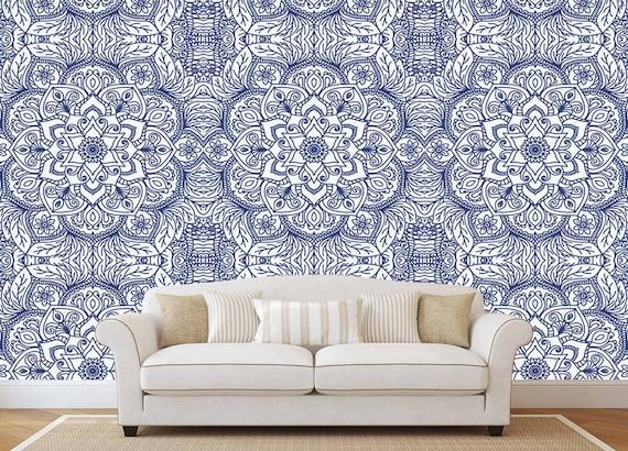 Mandala Wallpaper Lotus Indian Wallpaper Bohemian Removable Etsy