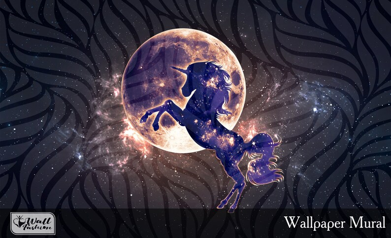 Dark Unicorn Wallpaper Fantasy Wall Art Space Wall Print Universe Unicorn Wall Decor Moon and Star Self Adhesive Wallpaper Peel /& Stick X380