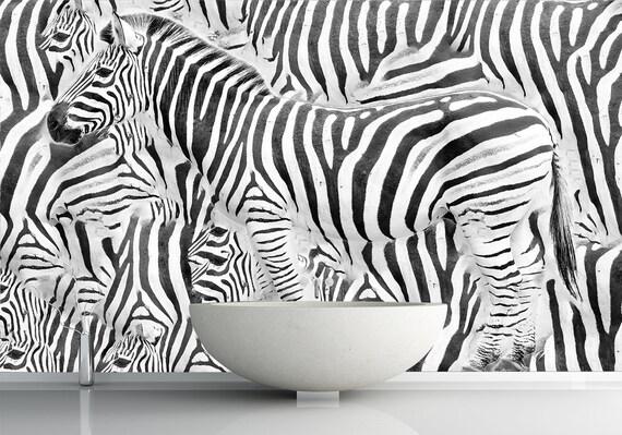 Africa Animals. Safari Wallpaper 3D. Zebra Wall Art Black and White. Remove  Wallpaper Mural. Self Adhesive Wallpaper Peel & Stick X219