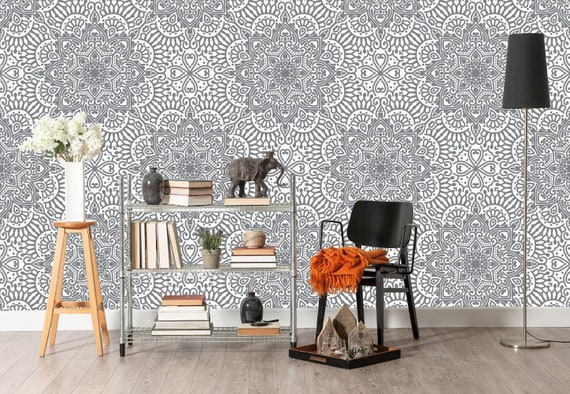 Indian Wallpaper Mandala Black And White Wallpaper Removable Etsy
