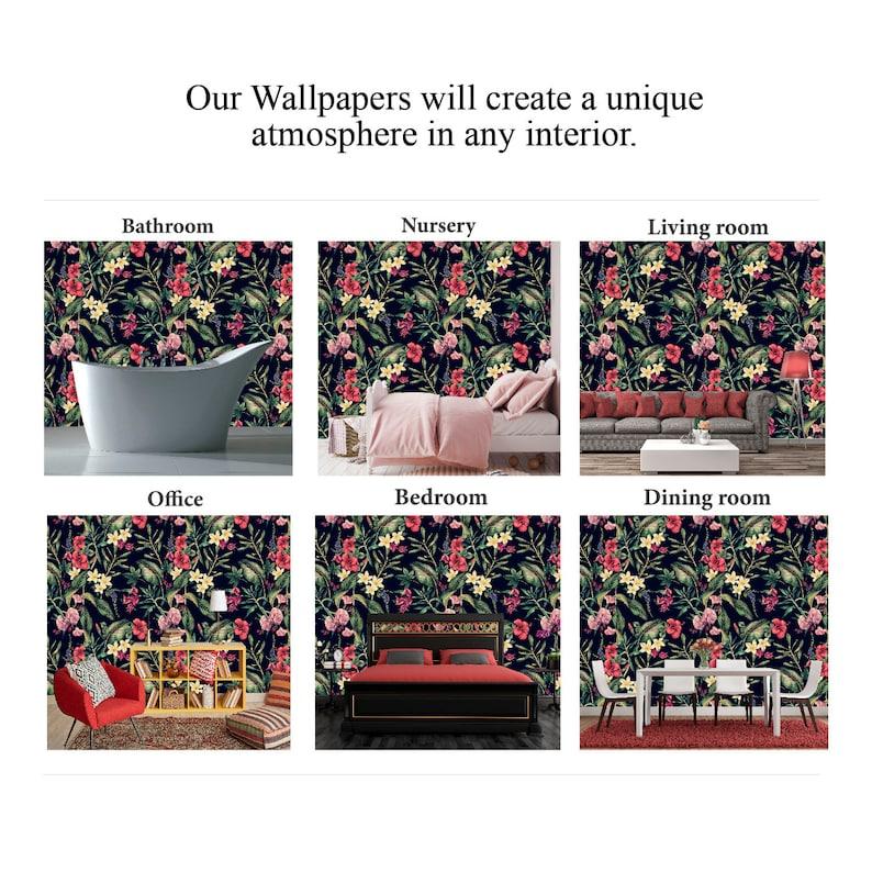 Flower Wallpaper Vintage Dark Wallpaper Tropical Peel and Stick Wallpaper Exotic X255 Self Adhesive Wallpaper Removable Wallpaper Mural