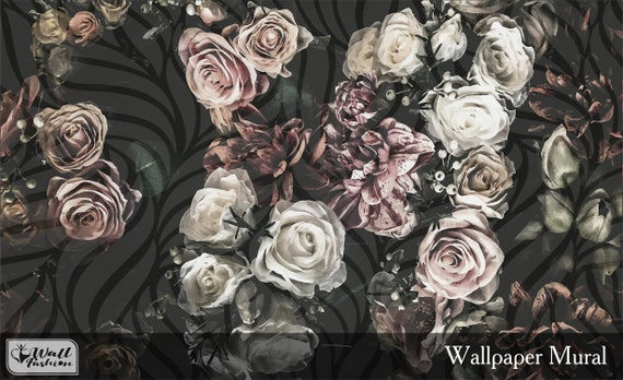 Watercolor Flower Wallpaper Vintage Dark Floral Wallpaper Etsy
