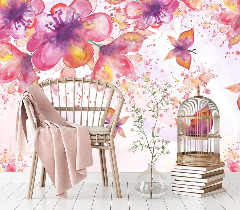 Flower Wallpaper Watercolor Floral Wallpaper Butterfly Removable Wallpaper Mural Self Adhesive Wallpaper Peel And Stick Wallpaper X81