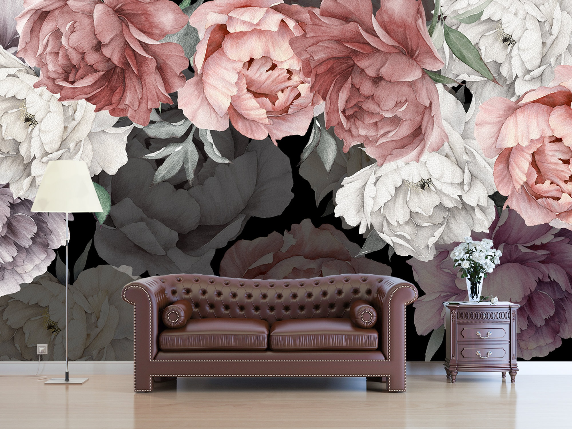 Dark Floral Wallpaper Peony For Nursery Girl Flower Wallpaper Etsy