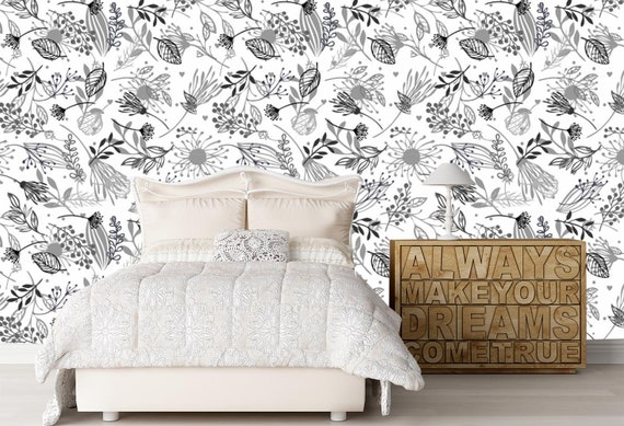 Floral Wallpaper Black and White. Spring Wallpaper Bedroom. Removable  Wallpaper Mural. Self Adhesive Wallpaper. Peel and Stick Wallpaper X63