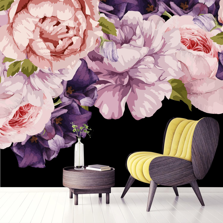 Flower Wallpaper Vintage Peonies Floral Wallpaper Dark Etsy