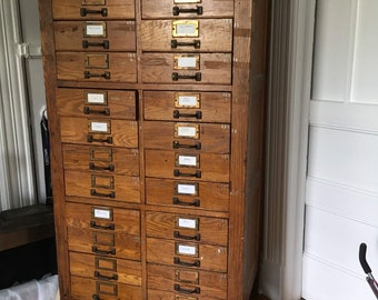 Antique Oak Apothecary / File Cabinet