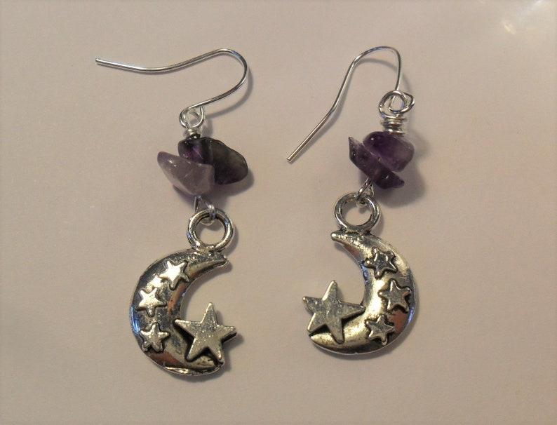 Gemstones Goddess Inspired Earrings in Tibetan Silver with Amethyst Imbolc Earrings Moon Pagan