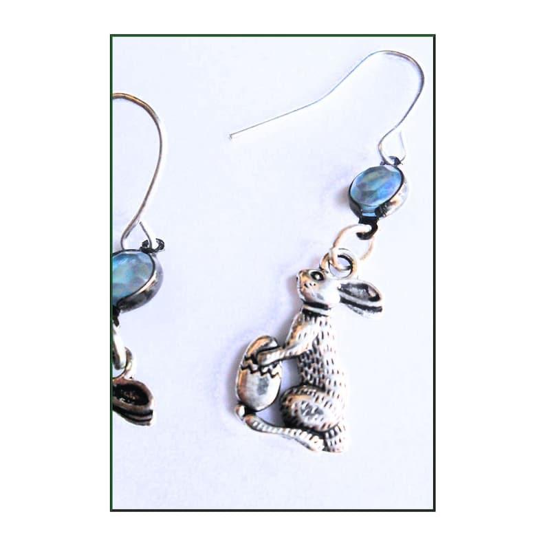Bunnies Earrings Ostara Hare Eggs Pagan Spring Festival Vintage Blue Bead Easter Bunny Earrings in Tibetan Silver Easter