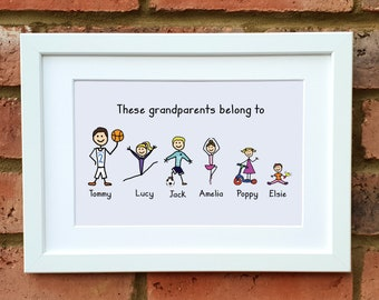 Personalised Grandparent Cartoon Print With Mount