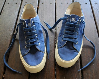 separation shoes 5f3b8 6b174 Deep Ocean Blue Vintage Superga brand Canvas Shoes White Chunky Sole - Size  41, Size 10, Size 8