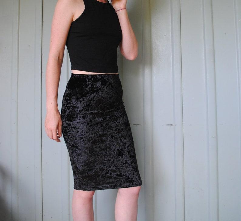 c9f7225e54 Soft Black Crushed Velvet Knee Length Vintage Skirt Size Small | Etsy