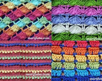 4 design blanket rug afghan stitch pattern pdf by marifu6a for beginners