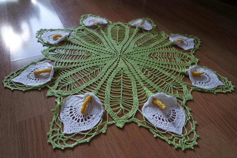 Crochet doily with Calla Lily pattern pdf 145