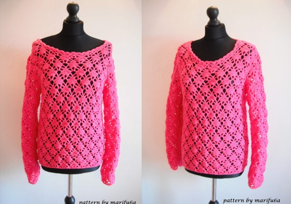 7176fc605 Crochet pink sweater pullover pattern pdf nr 41