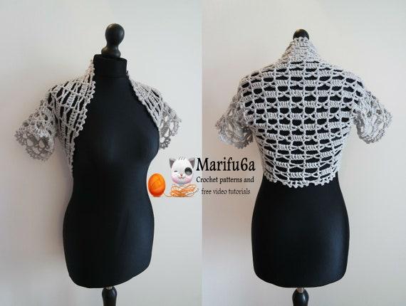 crochet easy bolero from one ball pattern pdf 101 by marifu6a   Etsy