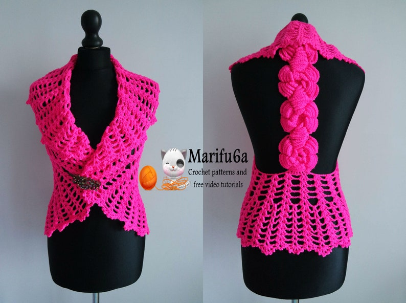 Crochet Vest Bolero Jacket With Roses Pattern By Marifu6a Etsy