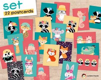 POSTCARD Set of 22 Postcards