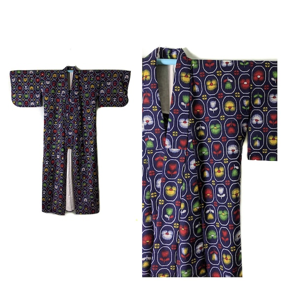Authentic Japanese Kimono Yukata in Unique Multico