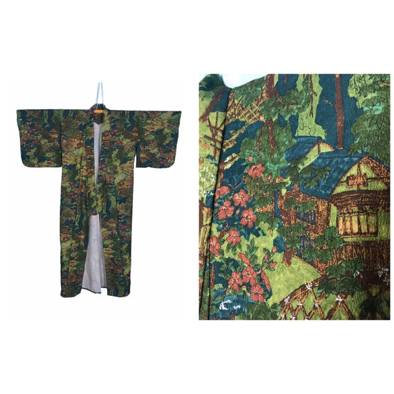 BEAUTIFUL vintage kimono yukata ancient village in