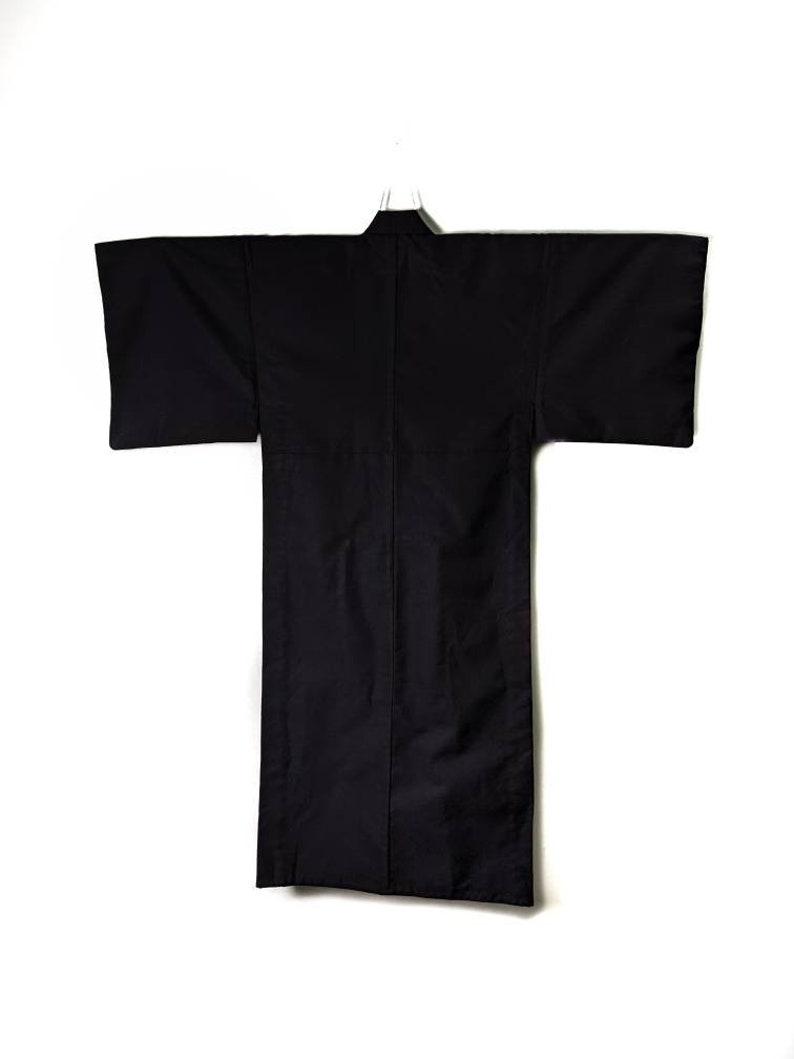 Authentic Japanese Men/'s Kimono Yukata in Dark Grey wool