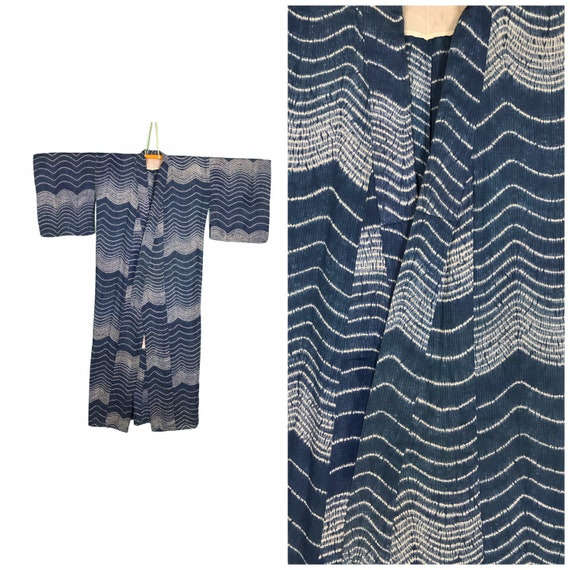 Authentic vintage yukata kimono water ripples and