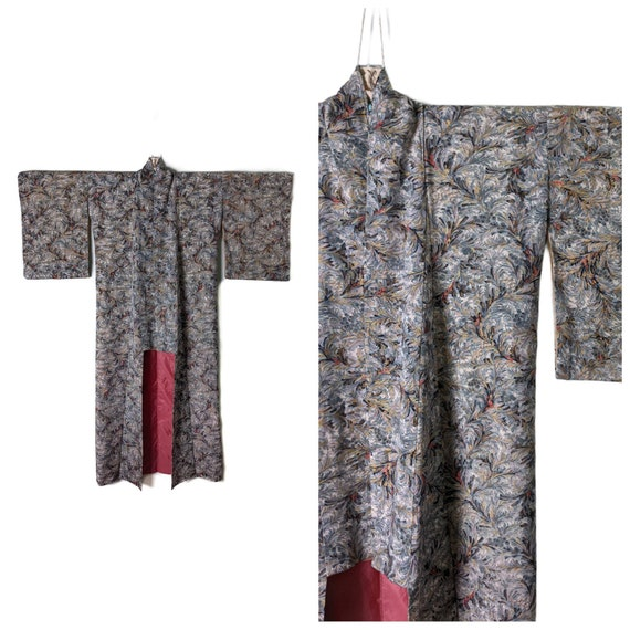 Authentic Japanese Kimono Yukata in Flower Art Pat