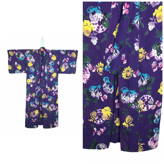 Authentic vintage yukata kimono purple colour