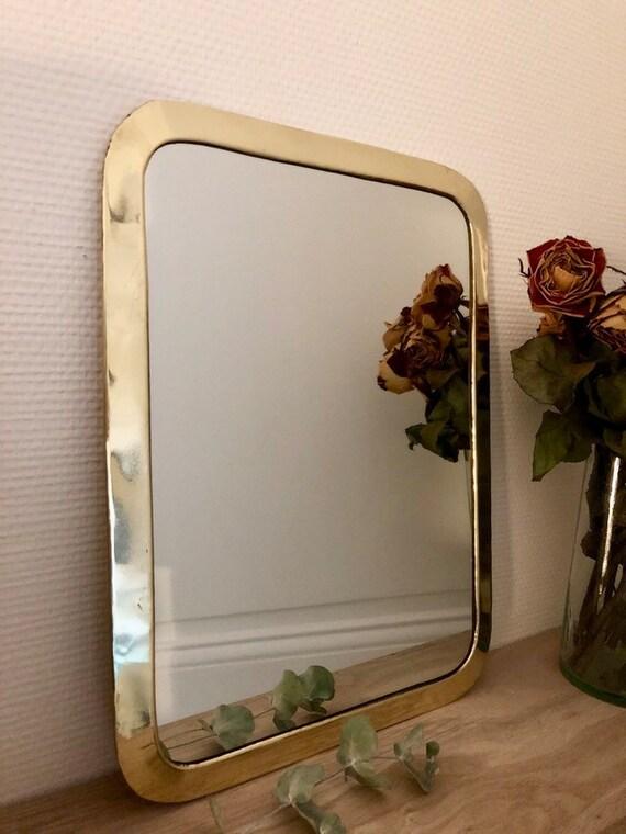 Miroir cuivre dor rectangulaire moyen mod le etsy for Miroir dore rectangulaire