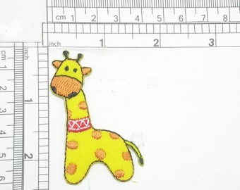 Giraffe Head Childs Embroidered Iron On Patch 4.5 Inch