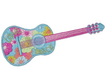 Guitar Music Electric Craft Turquoise Embroidered Iron On Patch Band