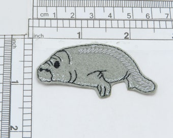 Manatee Sea Cow Right Crafts Embroidered Iron On Applique Patch Gray Aquatic