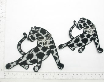 Large Black Panther StarsAnimal Leopard Embroidered IronOn Jacket Patches 8x8