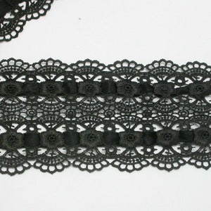 Venise Lace 2 14 Black Scalloped 3 Yards 100/% Rayon 57mm