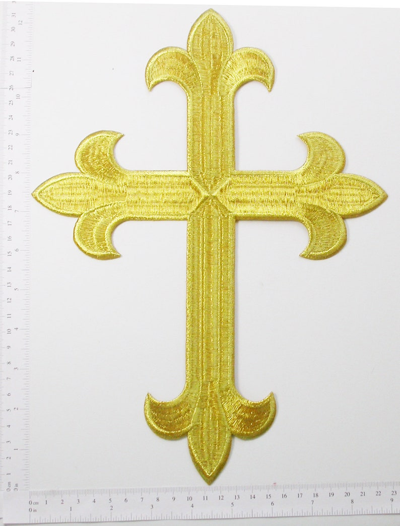 305mm x 225.4mm Latin Cross 12 x 8 78 Cross Patch 12 Iron On Applique Fully Embroidered