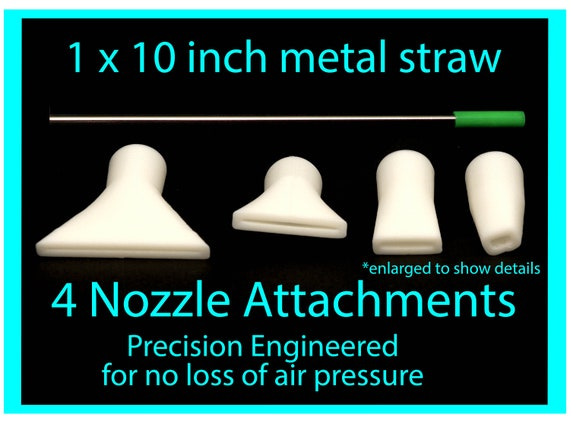 Dutch Pour 4 Nozzle Attachments & 1 Metal Straw for Acrylic Pouring Art, Fluid Art tools, Precision Pouring Tools