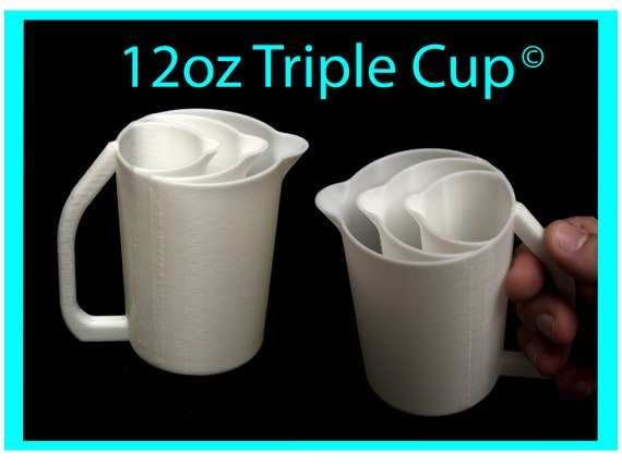 12oz Triple Pour Cup with Easy Grip Handle© and No-Drip Spout© -  Acrylic Pour Cup with Compartments / Slots