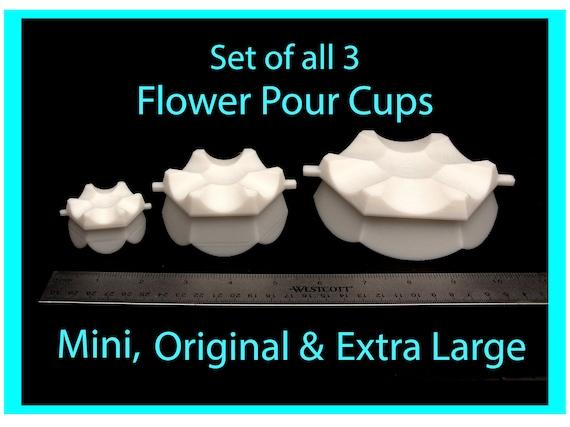 Flower Pour Cup Set of 3 - Reverse Flower Dip - Acrylic Paint Pouring Split Cup