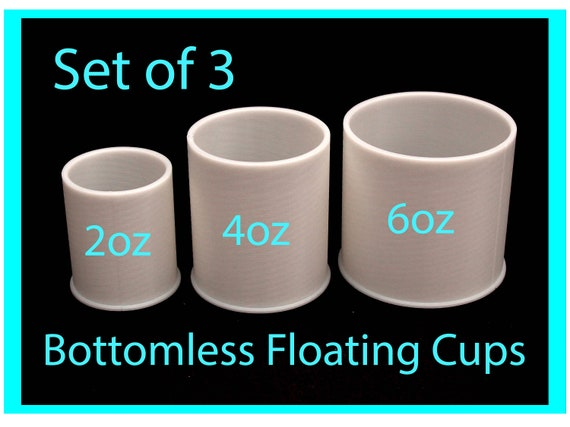 Set of 3 Bottomless Floating Acrylic Pour Split Cups