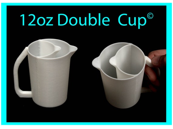 12oz Double Pour Cup with Easy Grip Handle© and No-Drip Spout© -  Acrylic Pour Cup with Compartments / Slots