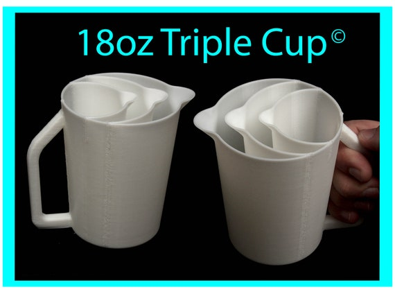18oz Triple Pour Cup with Easy Grip Handle© and No-Drip Spout© -  Acrylic Pour Cup with Compartments / Slots