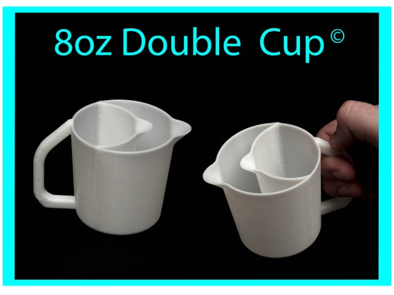 8oz Double Pour Cup with Easy Grip Handle© and No-Drip Spout© -  Acrylic Pour Cup with Compartments / Slots