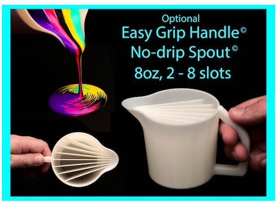 8oz, 2-8 slot Split Cup with Easy Grip Handle© and No-Drip Spout© -  Acrylic Pour Cup with Compartments / Slots