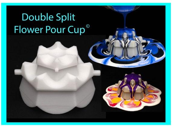 6 petal Double Split Flower Pour Cup - Reverse Flower Dip - Acrylic Paint Pouring Split Cup