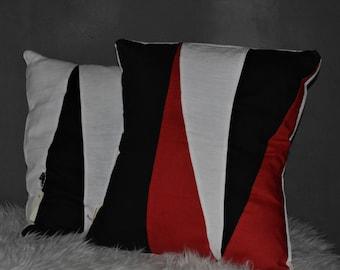Cushion white-red-black