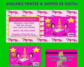 Unicorn Credit Card Invitation - Unicorn - Invitations - Invite - Party Favors - Custom Party Favors - Printables  - Digital - Printed
