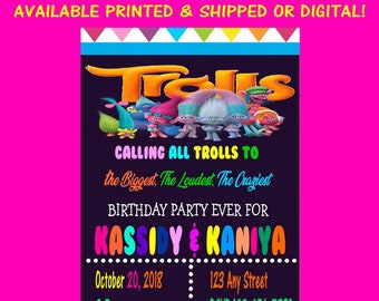 Trolls Invitation - Trolls - Invitation - Trolls Party - Birthday - Party - Digital - Printable - Party Printables - Printed