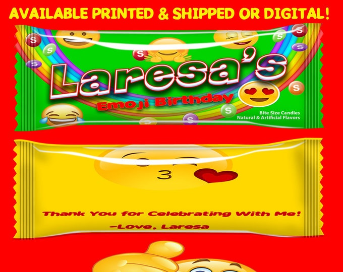 Emoji Candy Favors - Candy Wrappers - Emoji - Party Favors - Birthday Party - Candy Bags -  Printed - Printable - Digital