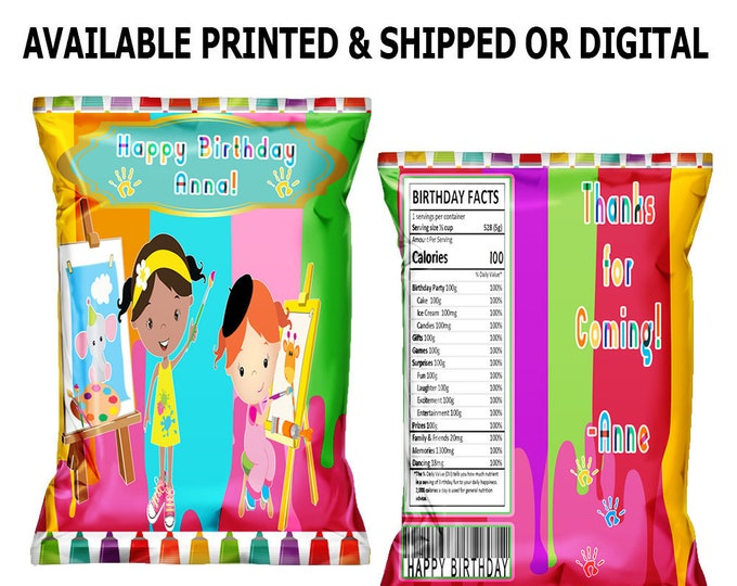 Paint Party Chip Bag - Custom Chip Bag - Paint Theme - Paint Party Favor Bag - Paint Party - Digital File - Party Printables